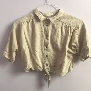 Linen crop top blouse